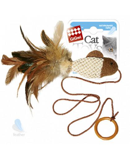 GiGwi Дразнилка - рыбка для кошек с перьями на палец 7 см
