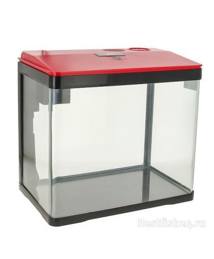 Аквариум PRIME. 15л, красно-черный, с LED светильником, фильтром и кормушкой PR-004785