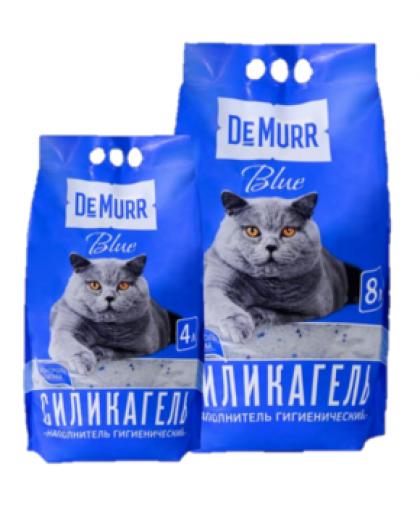 DeMurr blue Премиальный наполнитель для кошачьего туалета силикагелевый /с добавлением синих гранул/