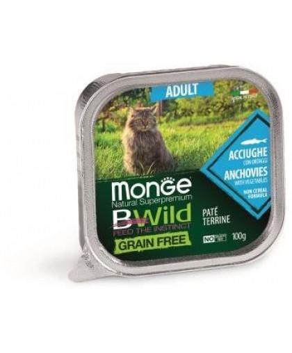 Monge Cat BWild GRAIN FREE беззерновые консервы из анчоусов с овощами для взрослых кошек 100г