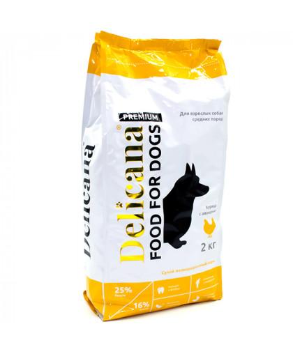 Delicana сухой корм для собак средних пород курица с овощами