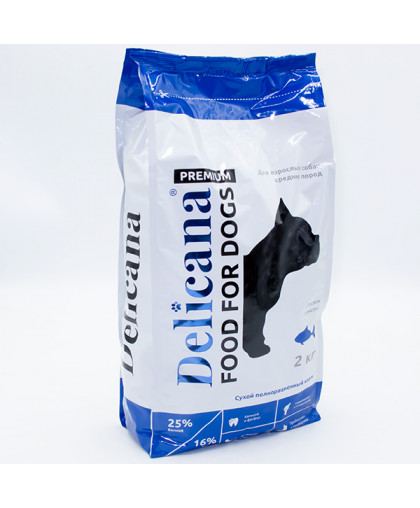 Delicana сухой корм для собак средних пород лосось с рисом