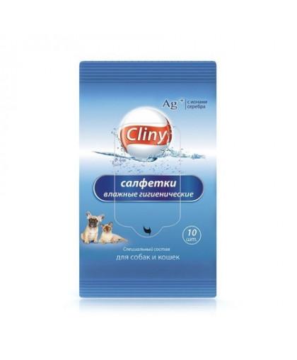 Cliny Влажные гигиенические салфетки д/кошек и собак 10 шт