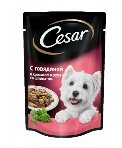 Cesar Влажный корм для взрослых собак, говядина и кролик в соусе со шпинатом, пауч 85г