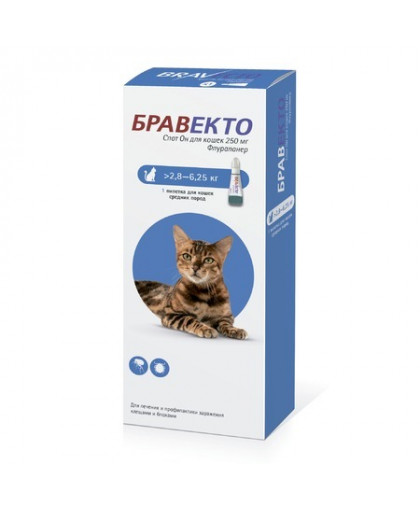 Бравекто 250 мг капли спот-он от блох и клещей для кошек 2,8-6,25 кг