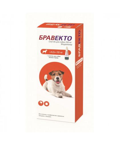 Бравекто 250 мг капли спот-он от блох и клещей для собак 4,5 - 10 кг