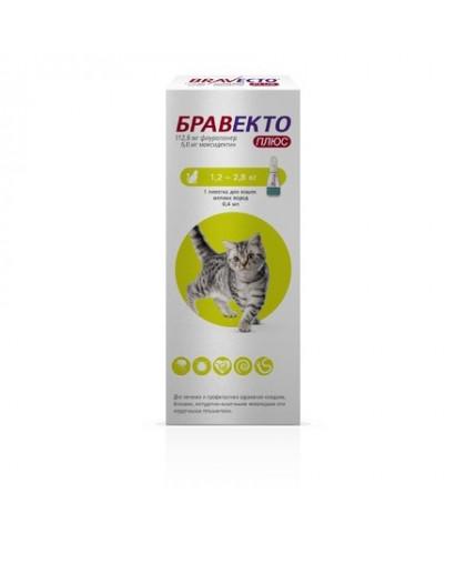 Бравекто Плюс 112,5мг капли для кошек 1,2-2,8 кг