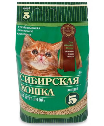 Наполнитель Сибирская кошка, Лесной, древесный, (для котят)