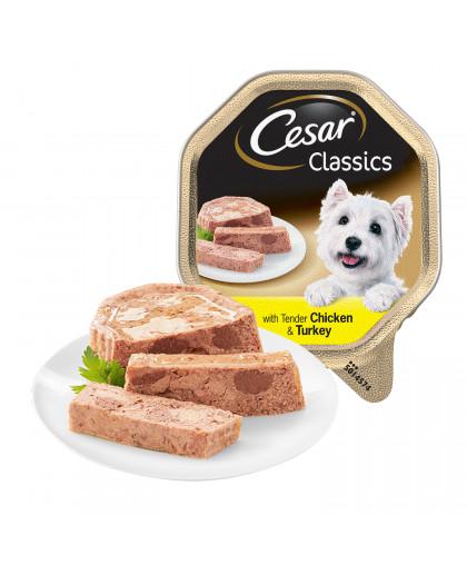 Cesar влажный корм для собак с нежной курицей и индейкой, 150 гр
