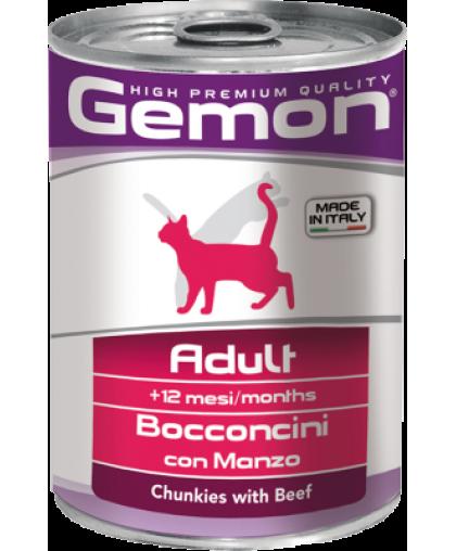Gemon Adul Bocconcini con Manzo корм для кошек Говядина банка 415 гр