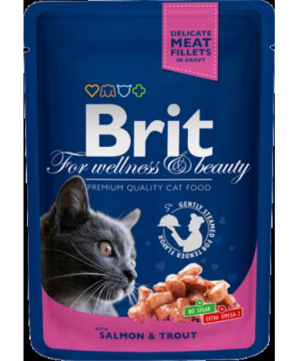 Brit Premium with Salmon & Trout корм для взрослых кошек Лосось/Форель пауч 100 гр