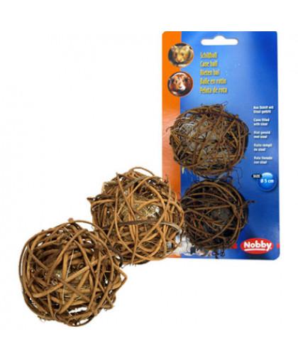 Игрушка для грызунов NOBBY Шар плетеный, дерево 5см 2шт